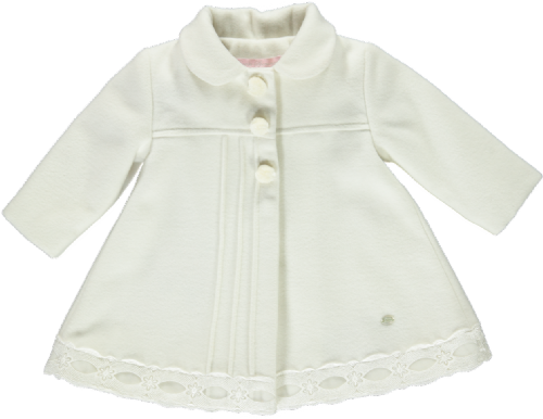 Piccola Speranza Girls Ivory Pom Pom Coat
